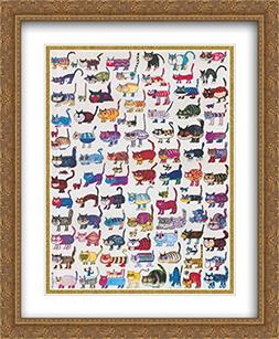 100 Cats and a Mouse 2x Matted 28x40 Large Gold Ornate Frame