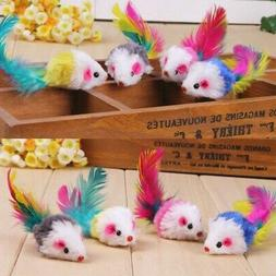 10pcs/Set False Mouse with Colorful Feather Tails Pet Cat Fu
