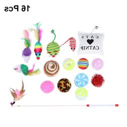 16PCS Cat Feather Toys Mice Animal Toys For Kitty Includes F