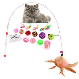 16pcs Pet Cat Toy Suits Feather Squeaky Ball Toy Mice Animal