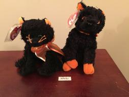 "2 lot MOONLIGHT & FRAIDY cats HALLOWEEN Ty Beanie Baby 6"" NE"