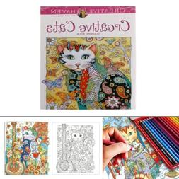24 Pages Creative Cat Coloring Book Kill Time Painting Drawi
