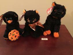 3 lot MOONLIGHT~SUPERSTITION~FRAIDY cats HALLOWEEN Ty Beanie