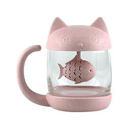3D Cute Cat Glass Tea Mug; Animal Coffee Mug; Tea Cup With F