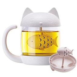 Royal Joy 3D Cute Cat Glass Tea Mug; Animal Coffee Mug; Tea