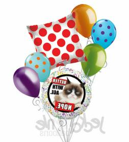7 pc Grumpy Cat Better With Age Balloon Bouquet Party Decora