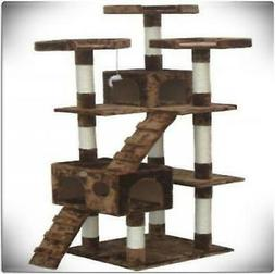 "72"" Cat Tree Tower Condo House For Large Cats Scratching Pos"