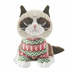 "Ganz 8"" Plush Grumpy Cat Sitting  with Christmas Sweater NEW"