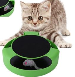 Cat Mouse Play Toy with Scratching Post Pad for Pup Animal I