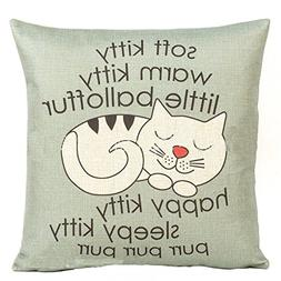 Decorbox Happy Sleepy Kitty Print Cat Pillow Cushions Cover