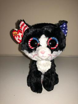 TY FREEDOM BLACK PATRIOTIC CAT BEANIE BOOS- NEW, RED TAG-HAR