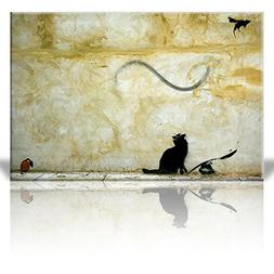 Wall26 - Canvas Print Wall Art - Cat and Mouse - Street Art