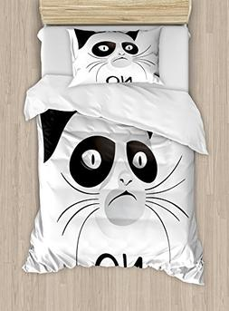 Ambesonne Animal Duvet Cover Set Twin Size, Cat Face Portrai