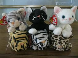 TY BEANIE BABIES CATS....6 TOTAL...MWMT / NEW OLD STOCK...SM