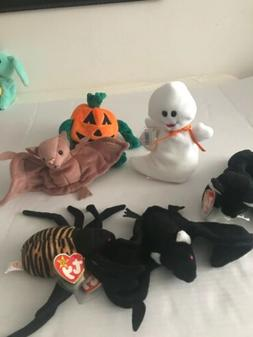 Ty Beanie Babies For Halloween Total Of 6 Bats Spider Black