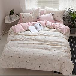 HIGHBUY 3 Piece Full Bedding Sets Pink Love Heart Cat Print
