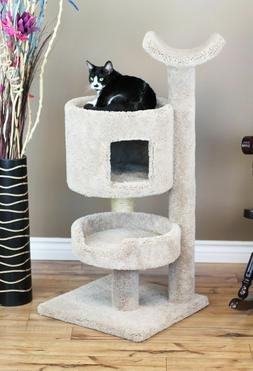 Carpet Cat Tree Tower Condo for Large Cats, Beige, Brown, Bl