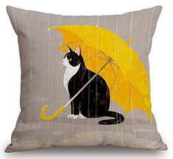 Cartoon Painted Lovely Animal Adorable Cat Hold Up An Yellow