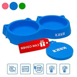 Cat Bowls - Blue Cat Food Set of Silicone Cat Feeder Stand &