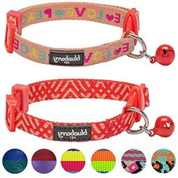 Blueberry Pet Pack of 2 Cat Collars, Love Peace Theme and Sa
