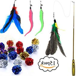 GuassLee Cat Feather Toy Teaser Wand Crinkle Balls Set - 4 W
