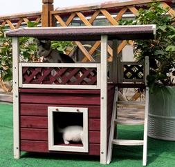 Cat House for Outdoor Cats Condo Pet Shelter Weatherproof Ho