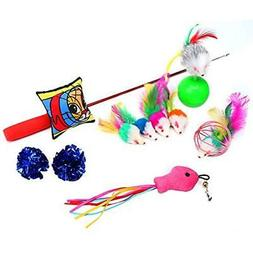 Cat playtime Toys ten Pieces with Cat Teaser Wand Interactiv
