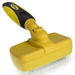 barkOutfitters Cat Slicker Brush, Quick Self-Cleaning Pro Qu