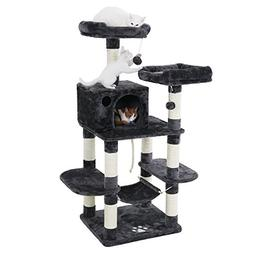 """SONGMICS 56"""" Multi-Level Cat Tree with Sisal-Covered Scratch"""