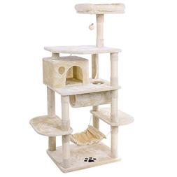 BEWISHOME Cat Tree Condo with Sisal Scratching Posts Perch H
