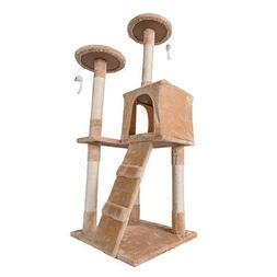 "Cat Tree House Furniture Condo 52"" Pet Play Tower Scratching"