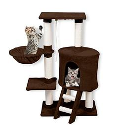WELLHOME Cat Tree With House Condo Tower Pet Scratching Post