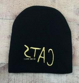 Cats Embroidered Black Knit Beanie with Cat Eyes