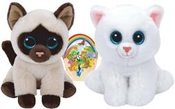Ty Beanie Babies Cats White PEARL and Siamese JADEN Gift set