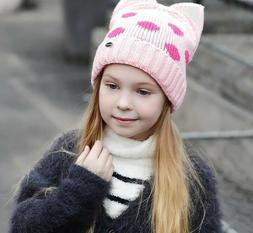 Children Beanie Hats For Winter Autumn Warmer With Cats Ears