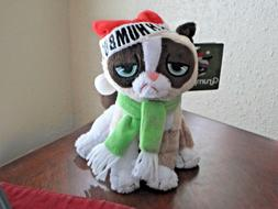 "Christmas Grumpy Cat 8"" Plush Stuffed Animal with Bah Humbug"