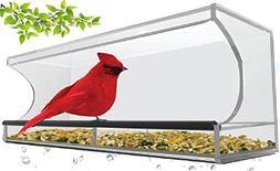 CLEARANCE Large Clear Window Mounted Bird Feeder with 4 Stro