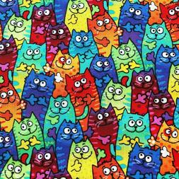 Colorful TieDye Packed Cartoon Cats Cotton Novelty Quilt Fab