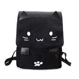 YQWEL Cute Canvas Cat Print Backpack School Bag Lightweight