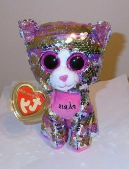 """Ty FLIPPABLES - ESMERALDA the Cat  6"""" Beanie Boos NEW - IN H"""