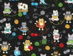 FAT QUARTER FABRIC CAT KITTY KITTENS COLORFUL KNITTING CATS