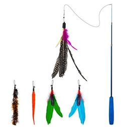 Depets Feather Teaser Cat Toy, Retractable Cat Feather Toy W