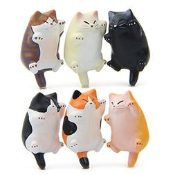 CHICHIC 6 Pack Fun Cat Refrigerator Magnets Office Magnet, K