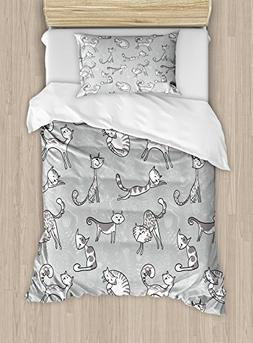 Ambesonne Grey Duvet Cover Set Twin Size, Cute Cats Figures