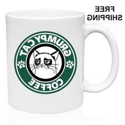 Grumpy cat Coffee, Starbucks Parody, Birthday, Christmas Gif