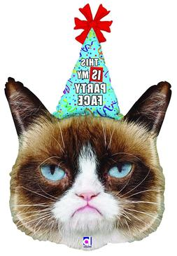 "GRUMPY CAT Kitty Kitten Party Hat Face 34"" Happy Birthday Pa"