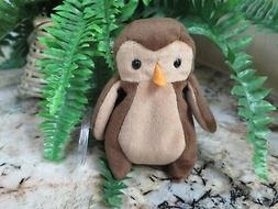 """TY~HOOT the Owl~5"""" Beanie Baby~Mint with Mint Tag~Free Ship"""