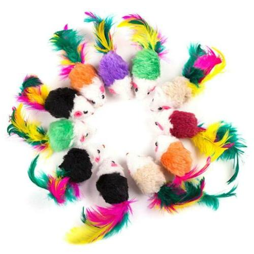 10Pcs/lot Colorful Plush False Mouse For Animal JL