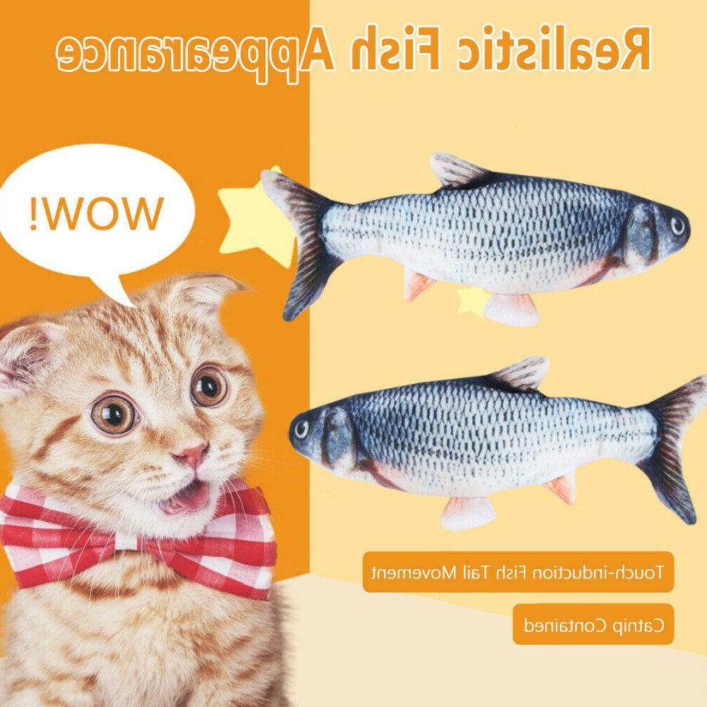 2020 Moving Fish Toys Cats, Realistic Plush Electric Funny US