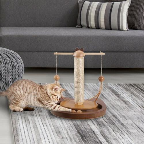 360° Teasing Cats Feather Wooden Scratching Post